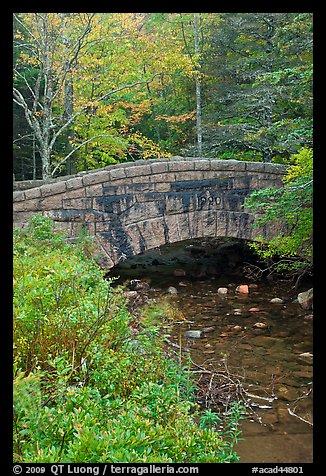 Picture/Photo: Stone bridge over stream. Acadia National Park