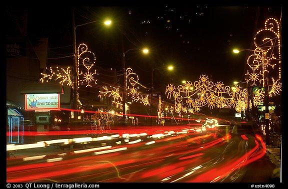 Christmas lights and traffic. Tennessee, USA