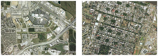 Left: Sprawl — fragmented, car-dependent single uses. Right: Complete community — balanced, connected, compact.