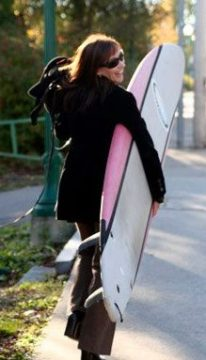 Kathryn Miles with surfboard