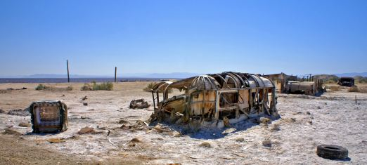 Bombay Beach trailer in the sand at the Salton Sea