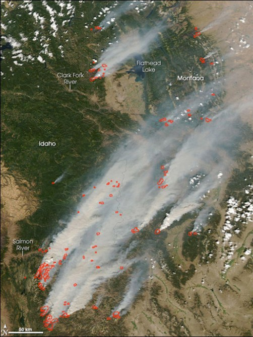 Satellite view of 2007 wildfires in Idaho and Montana