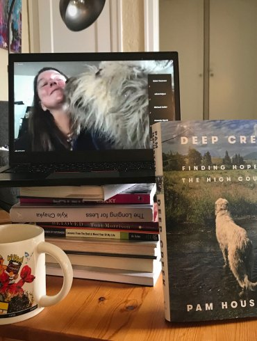 Pam Houston on Zoom with her book Deep Creek
