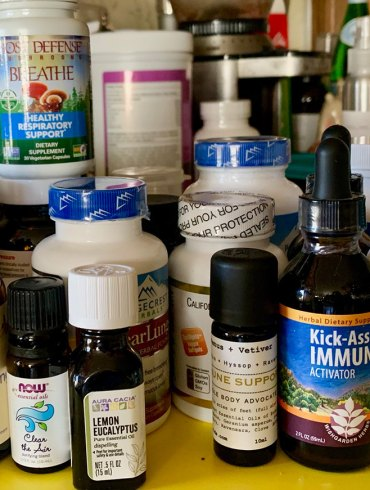Bottles of preventatives, medicine, antibacterials, vitamins, etc.