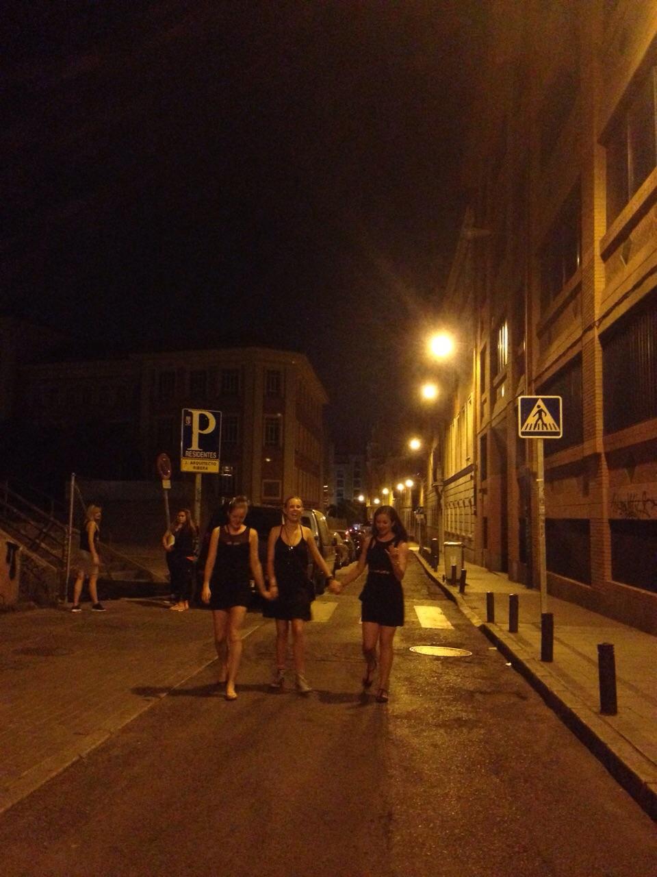 Girls walking down the street