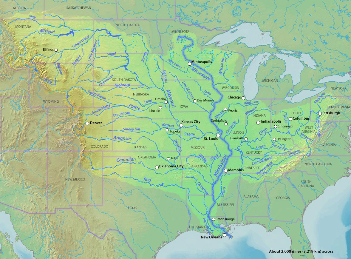 Map of the Mississippi River system.