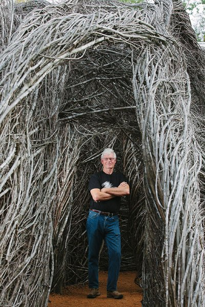 Patrick Dougherty. Photo by Briana Brough, courtesy Chapel Hill Magazine.