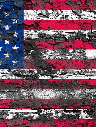 Pained U.S. flag, peeling