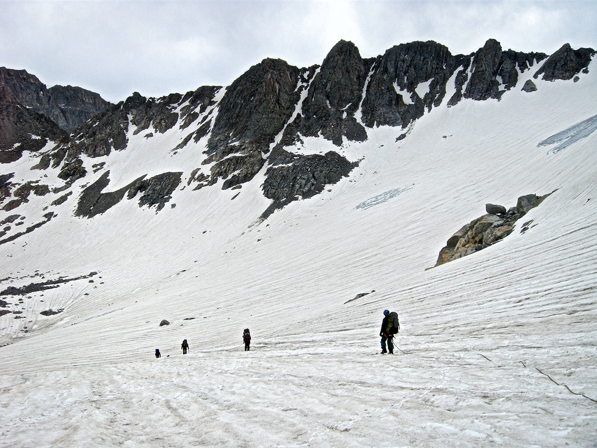 Scientist-climbers on a glacier in the Wind River Range.