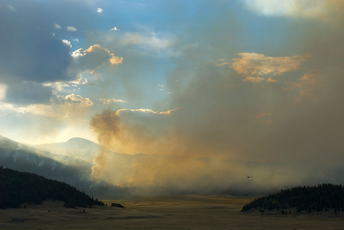 Wildfire smoke in the Valles Caldera National Presrerve, New Mexico