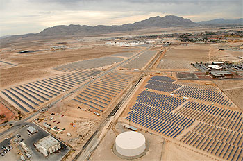 The solar field at Nellis Air Force Base is comprised of more than 72,000 photovoltaic panels. The array is expected to produce more than 25 percent of the base's electricity.