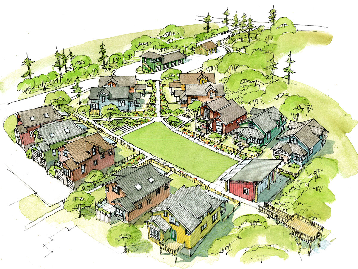 Illustration of Conover Commons in Redmond, Washington