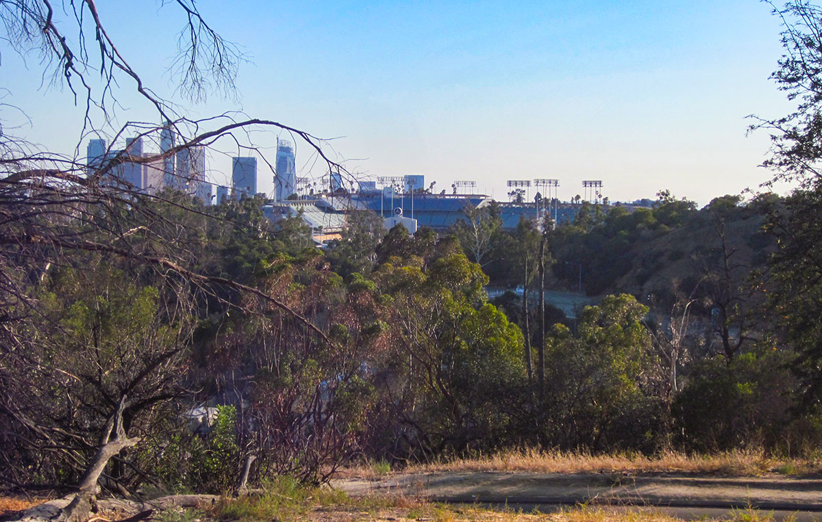Dodger Stadium and downtown Los Angeles in the distance.