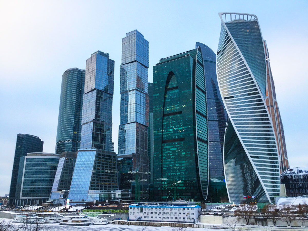Moscow-City viewed from ground level