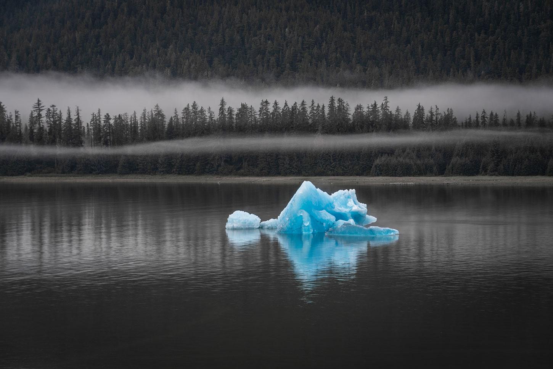 Blue iceberg in Holkham Bay, Alaska