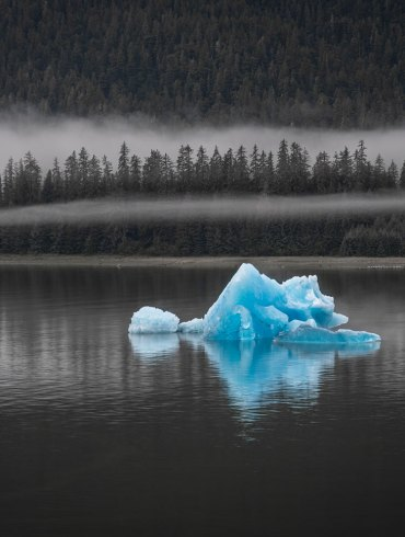 Blue iceberg in Holkham Bay, Alaska
