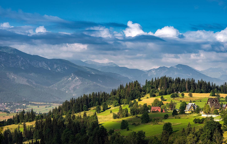 Mountain view with farmhouses