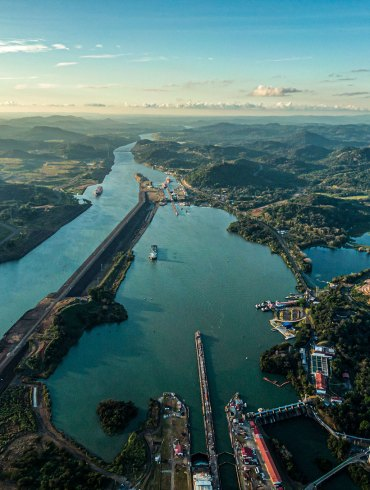 Aerial view of the Miraflores Locks on the Panama Canal