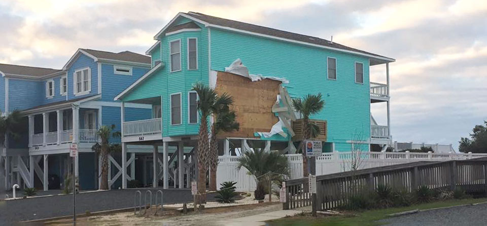 Damage to home from storms