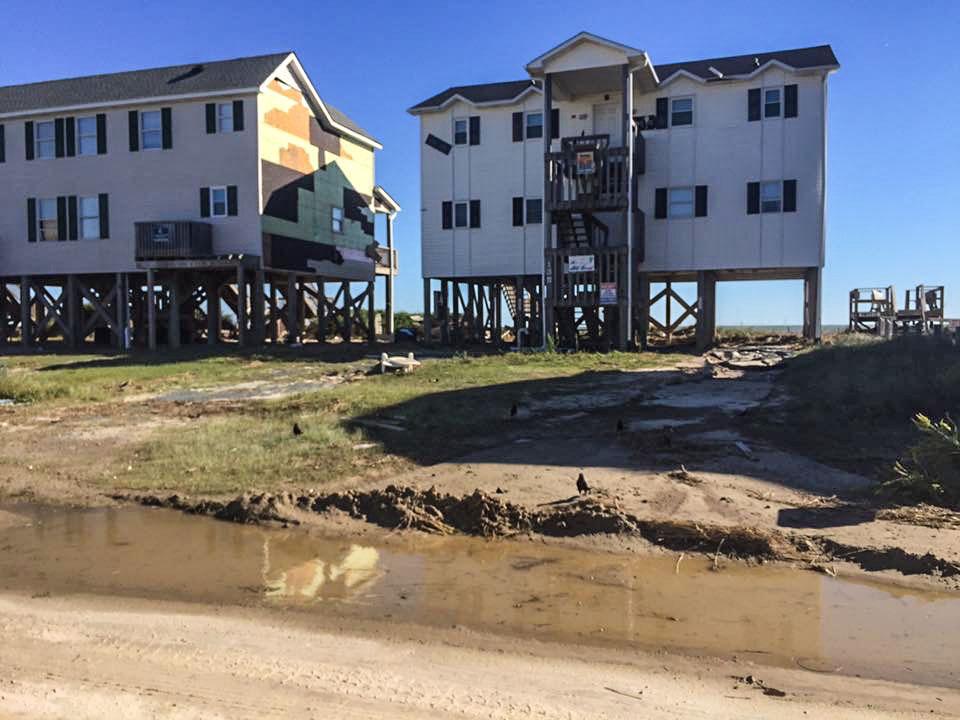 Damage to coastline homes