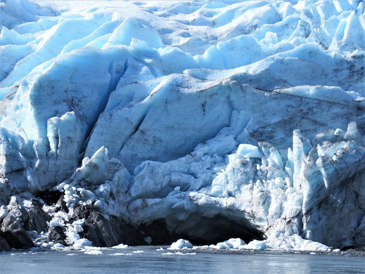 Seracs and subglacial stream, terminus of Portage Glacier