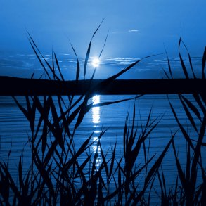 Moonlight on lake at night