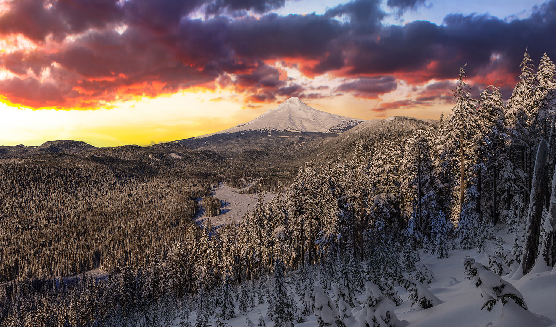 Mount Hood winter sunrise