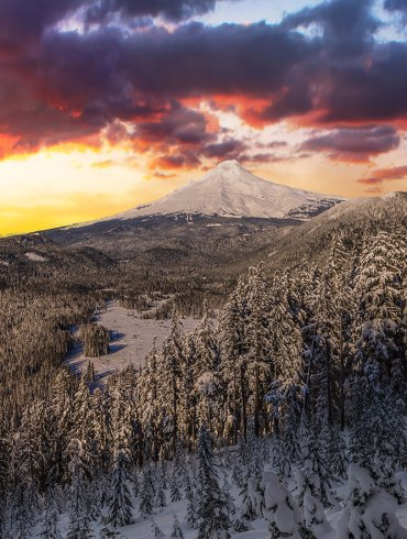 Mount Hood winter sunrise