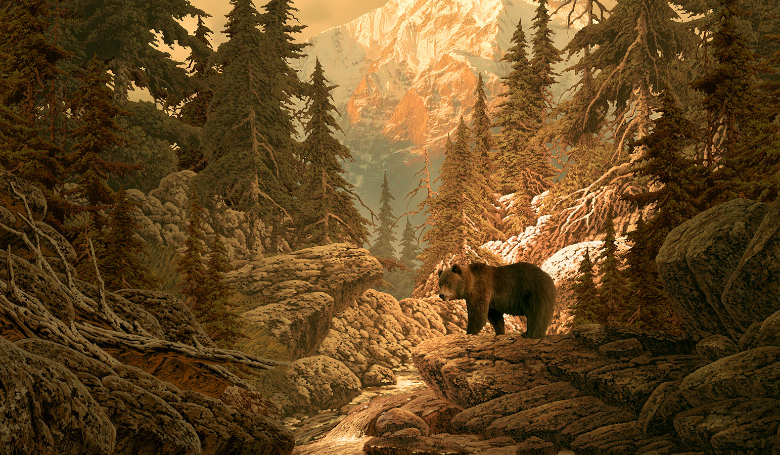 Painting of grizzly bear in Rocky Mountains by Larry Jacobsen