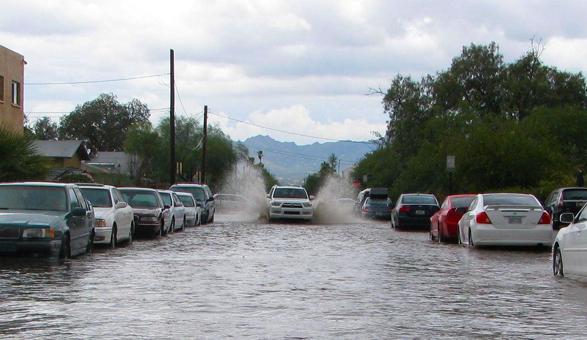 Flooded city street in Tucson