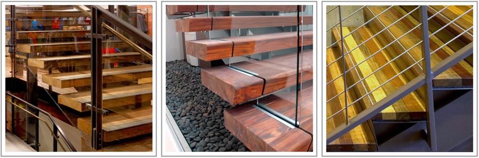 Reclaimed Wood Stair Treads I Terramai   Exterior Wood Stair Treads   Anti Slip   90 Degree   Step   Solid Stringer   Deck