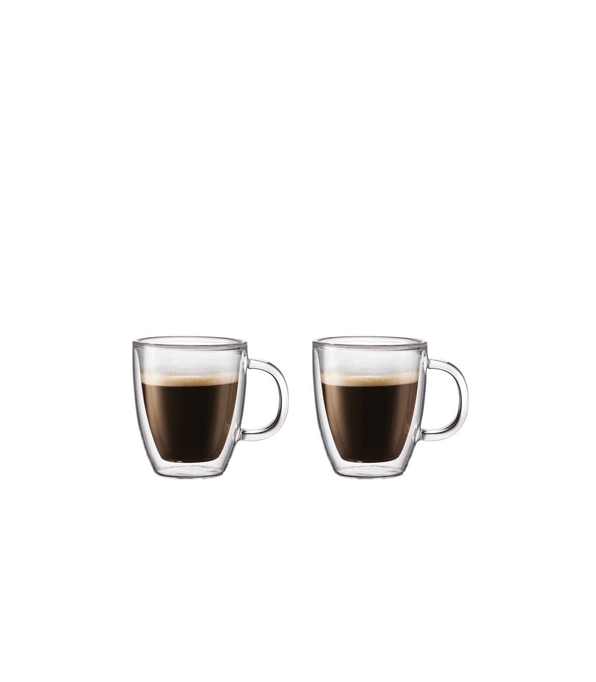 set de 2 mugs bodum bistro tasses verre double paroi 0 3l