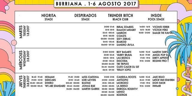 Cartel de las actuaciones del festival Arenal Sound.