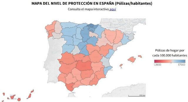 mapa de pólizas de hogar por habitante