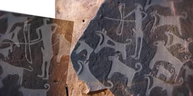 Grabados de hace 8.000 años con perros de caza (Imagen: YouTube)