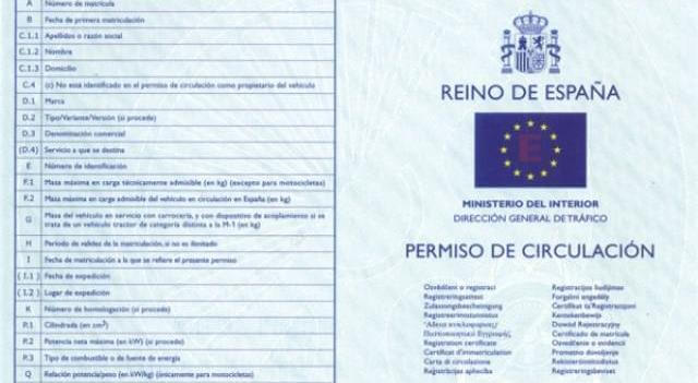 Nuevo permiso de circulación en España.