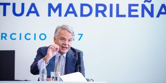 Ignacio Garralda presidente del Grupo Mutua presentando la cuenta de resultados de 2017