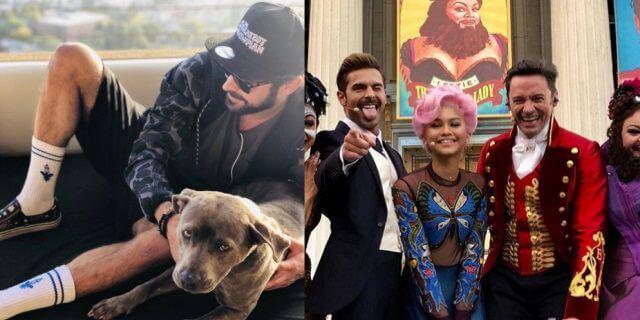 Zac Efron con su perro y el reparto de El Gran Showman (Fotos: Instagram).