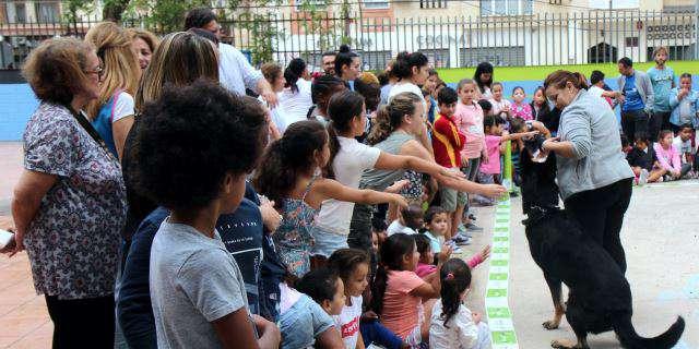 Acto con perros en un colegio de Málaga.
