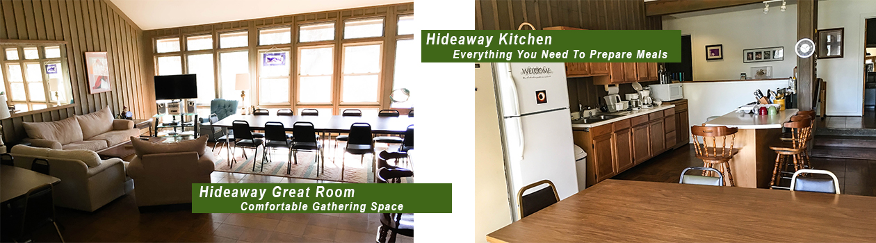 Great Room and Kitchen at Hideaway