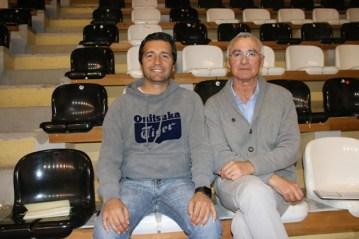 Tiago Leal, presidente do Silves FC, com João Jóia, responsável pelo Futsal no clube (da esquerda para a direita)