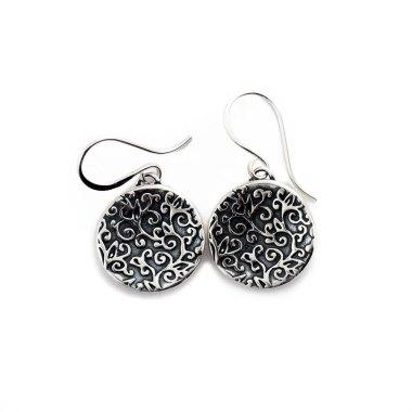 Swirl Leaf Round Earrings-Terra Rustica Jewelry