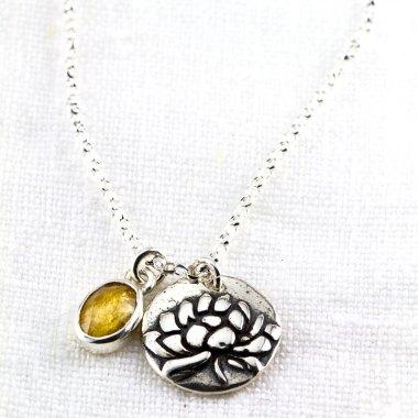 Rose Cut Oval Tourmaline and Lotus Awakening Necklace-Terra Rustica Jewelry