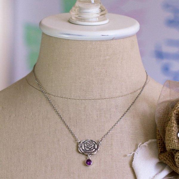 Peony and lab-created Alexandrite Necklace-Terra Rustica Design