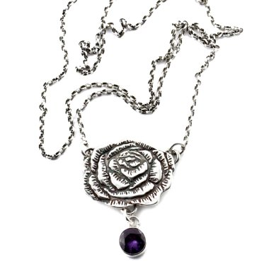 Peony and lab-created Alexandrite Necklace-Terra Rustica Design