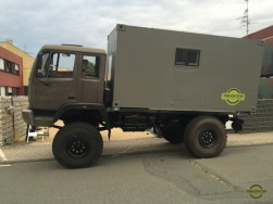 Side view of our expedition vehicle - STEYR 12M18 truck -while checking the space above the rear wheels
