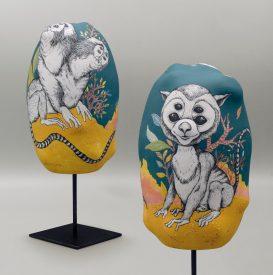 hominidae Tropicalis- Sculpture porcelaine