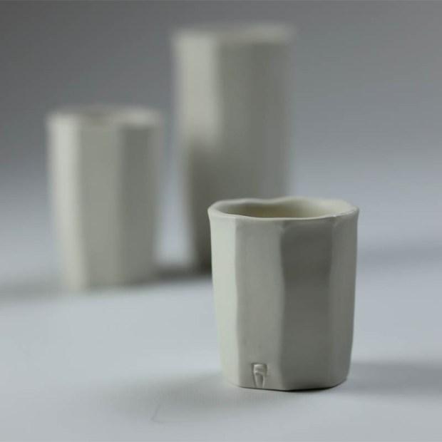 Trio Tasse KF 3 | Eric Faure | Trio de Tasses à Café | Produit | 54,00€ | 6291 | 3 tasses à café tournées et sculptées en porcelaine émaillée | Eric Faure | Terre et Terres | 30 avril 2021