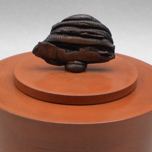 Chris GULLON shapî 9598   Chris Gullon   Shapî I   Produit   180,00€   6868   Boite en terre polie et patinée, avec couvercle surmonté d'un cabochon sculpté.   Chris GULLON   Terre et Terres   10 décembre 2020