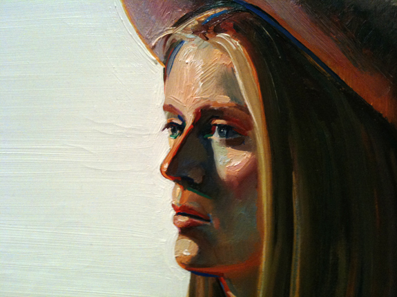 """Girl with Pink Hat"" (1973), detail, by Wayne Thiebaud"